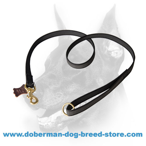 Practical All-weather Doberman Dog Leash with O-ring on the Handle