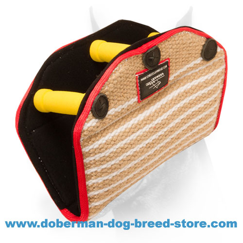 Doberman Puppy Jute Bite Developer with Three Hard Handles