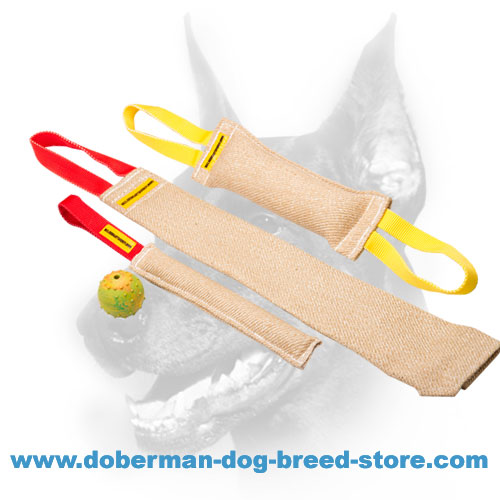 Doberman Puppy Training Set of three Strong Jute Tugs and FREE Dog Rubber Ball