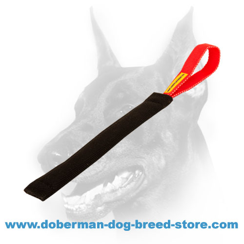"Doberman Puppy ""French Linen"" Bite Tug with Convenient Handle"