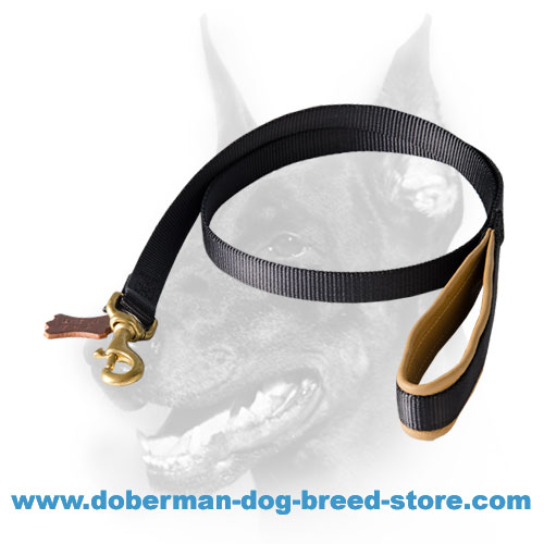 All-weather Nylon Doberman Dog Leash with Nappa Leather Padding on the Handle