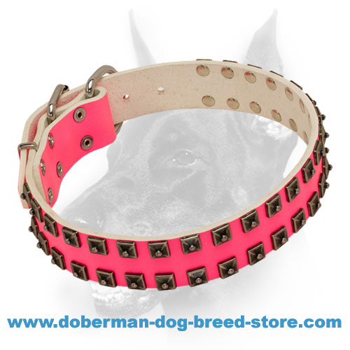 Fashionable Pink Leather Dog Collar with 2 Rows of Pyramids