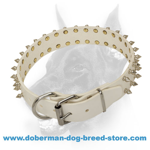 'White Rose' Spiked Doberman Dog Collar of Genuine Leather