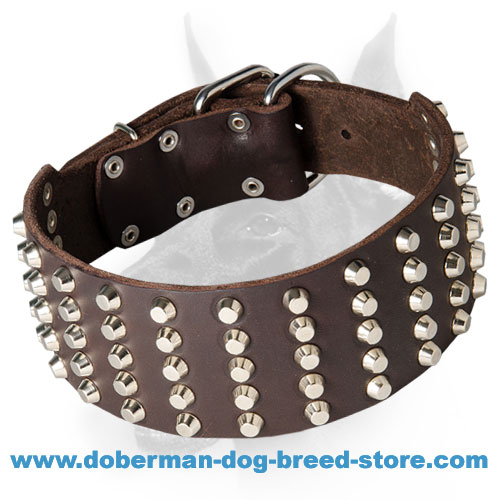 Extra Wide Full Grain Leather Doberman Dog Collar with Studs