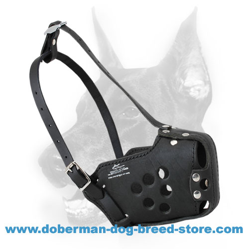 Military Leather Doberman Muzzle for Training, Agitation, Police - Click Image to Close