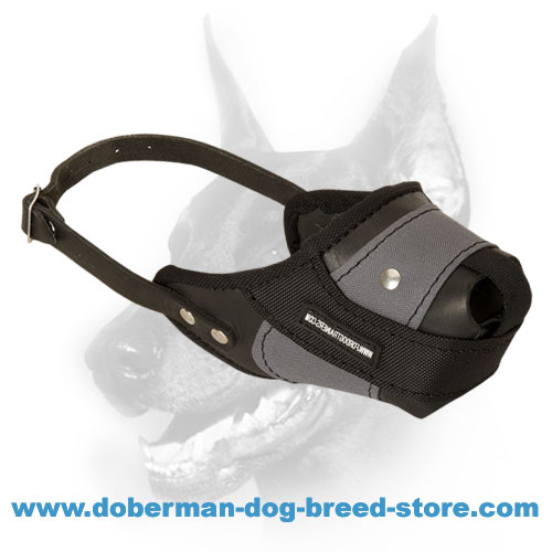 Leather Nylon Dog Muzzle for Attack Training