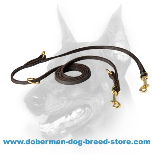 Multitasking Leather Doberman Leash with 3 O-Rings