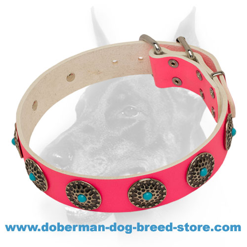 Extraordinary Pink Leather Dog Collar with Conchos and Blue Stones