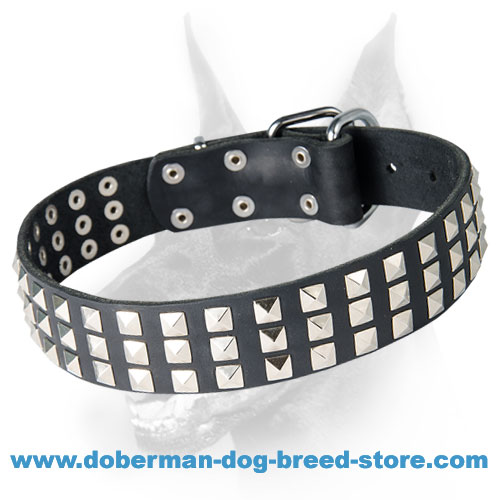 Silvery Pyramid Studded Leather Dog Collar for Doberman