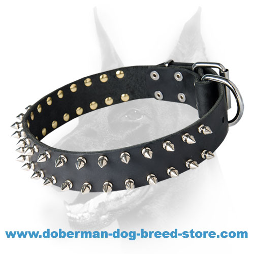 Leather Dog Collar with 2 Rows of Spikes for Doberman