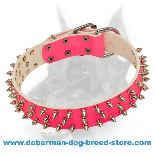 Fashion Pink Leather Dog Collar with 3 Rows of Spikes for Doberman-lady