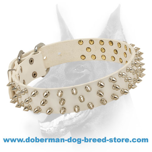New Fashionable Triple Spiked Leather Dog Collar for Doberman