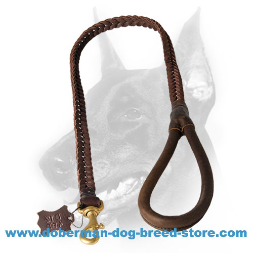Leather Doberman Dog leash with easy to grab handle