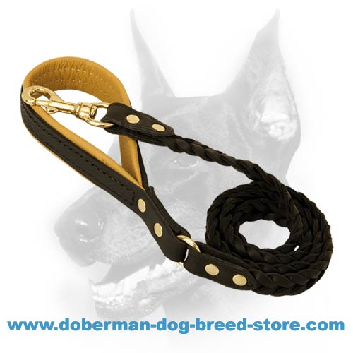 Designer leather dog lead for large dog breeds