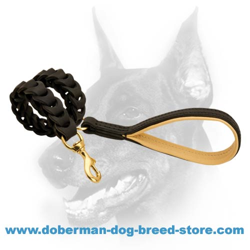 Handworked leather dog leash for Dobermans