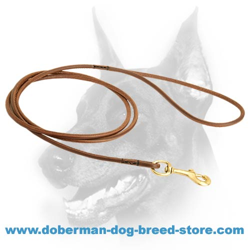 Round Leather Doberman Show Lead