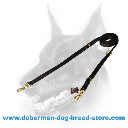 Doberman Lead with solid brass high quality snap hooks and rings