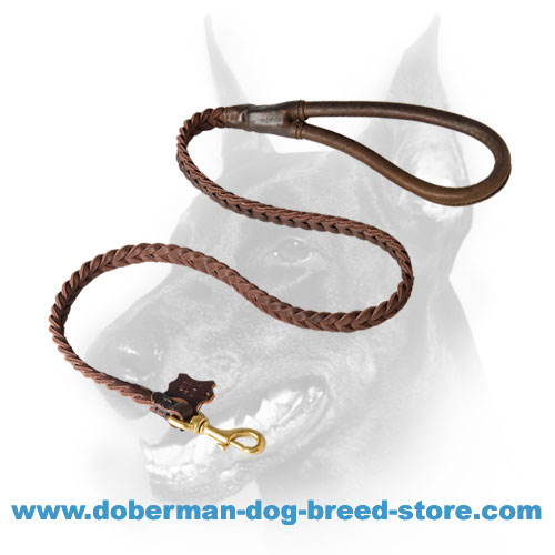 Convenient Doberman dog Leash with round leather handle