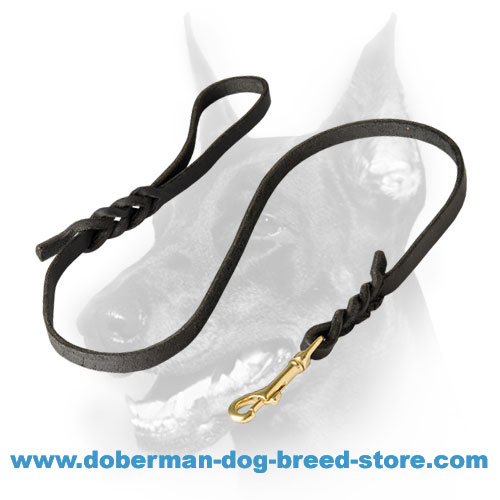 Convenient Leather Doberman Dog Leash for Everyday walking