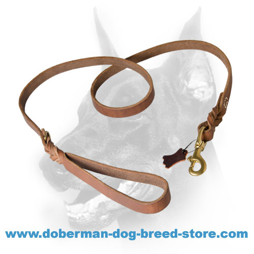 Doberman braided leather dog leash