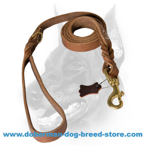 Convenient doberman lead with extra D-ring