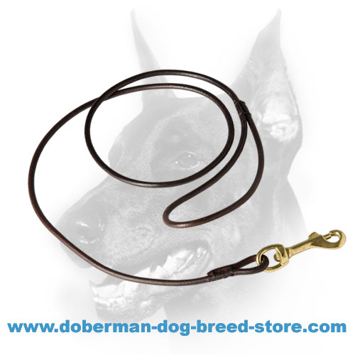 Doberman leather leash only 6 mm wide