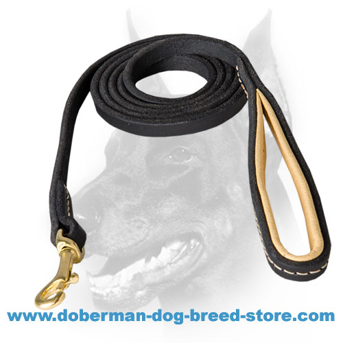 Doberman Dog Leash with a reliable brass snap hook
