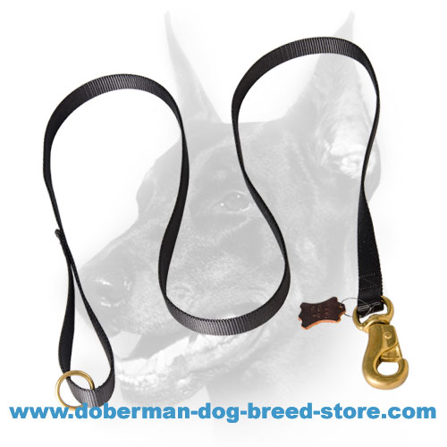 Doberman dog tracking lead for all-weather use