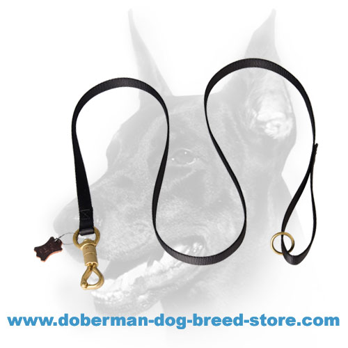 Doberman dog tracking lead with extra floating brass O-ring on the handle