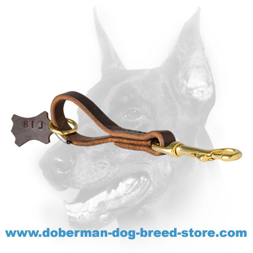 Doberman dog leather leash with smooth waxed edges