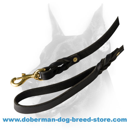 Good quality Doberman leash with smooth waxed edges