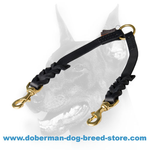 Doberman dog nylon coupler lead with rust resistant hardware