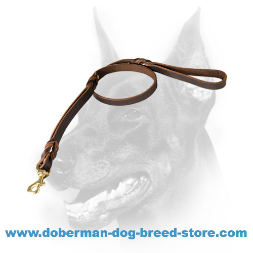 Doberman Dog Leather Lead riveted for strength