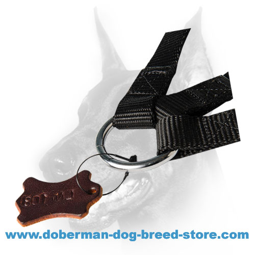 Rust resistant O-ring of doberman dog nylon tripler leash