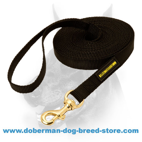 Heavy duty Doberman dog Leash with corrosion resistant brass snap-hook