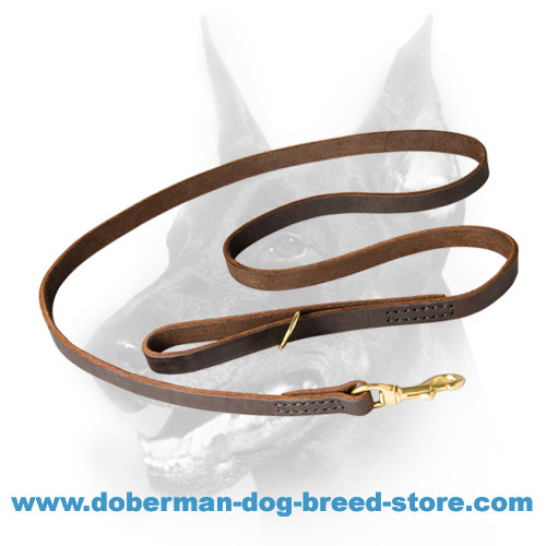 Leather Doberman Leash with Smooth Surface