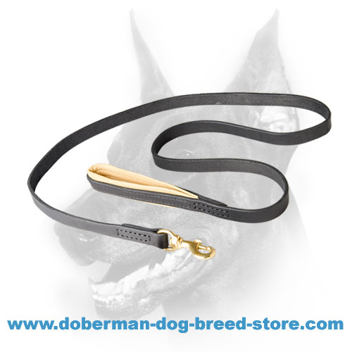 Doberman Leash Leather with Padded Handle