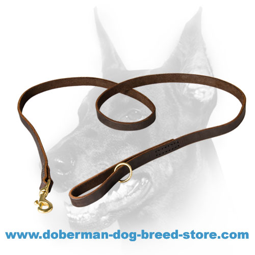 Leather Dog Leash for Management of Doberman