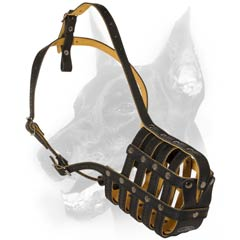 Mesh basket muzzle made of genuine 100% leather